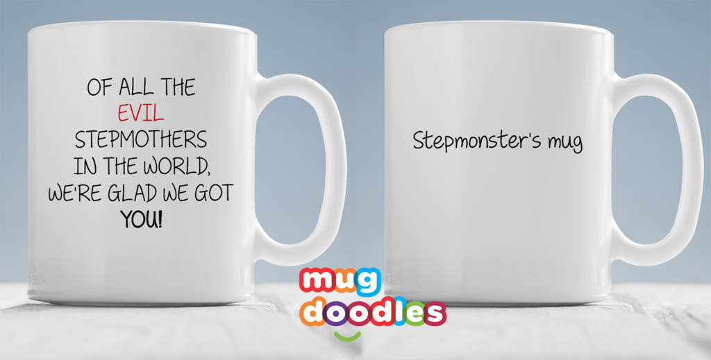 Custom mug showing stepmothers on one side and step monsters on the other side of the mug